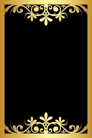 tapet: black background with gold ornament Illustration