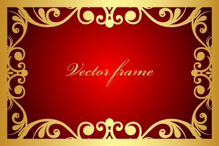 red and gold floral frame Stock Vector - 17688914