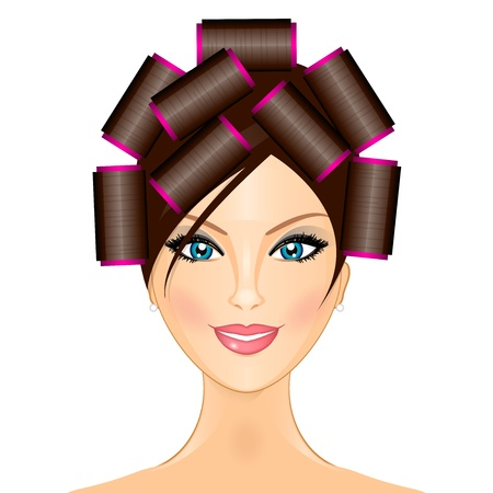 illustration of woman with curlers Stock Vector - 17688944