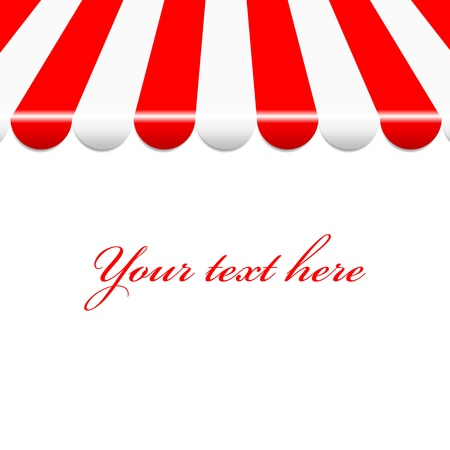 awning:  background with red and white awning