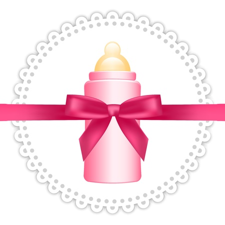 new born baby girl:  background with baby bottle