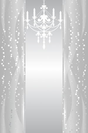 silver background with chandelier Vector