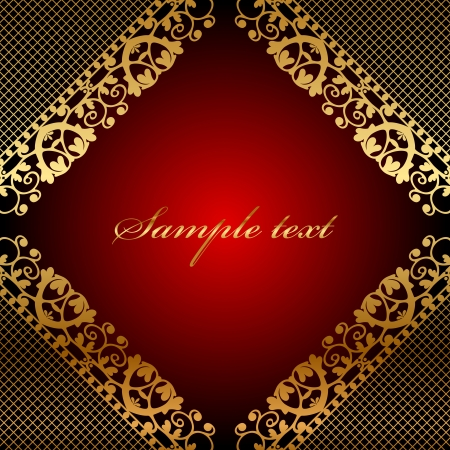 ornamented:  red frame with gold lace Illustration