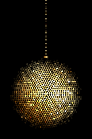 illustration of gold disco ball lights
