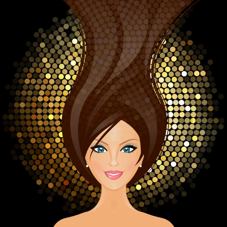 discoball:  illustration of girl in the club
