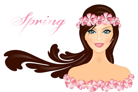 cosmetician:  illustration of girl with flowers Illustration