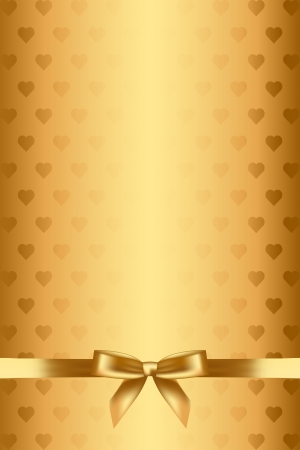 gold background with hearts and bow Stock Vector - 17968328