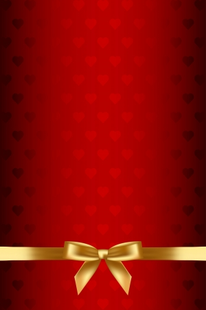 red background with hearts and gold bow
