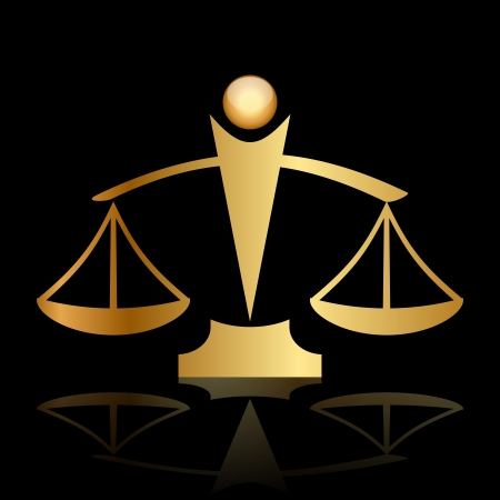 trial balance:  gold icon of justice scales on black background