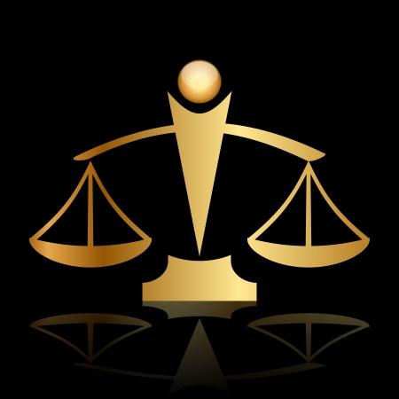 dama justicia: icono de oro de las escalas de la justicia sobre fondo negro