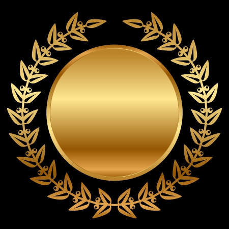 gold laurels on black Vector