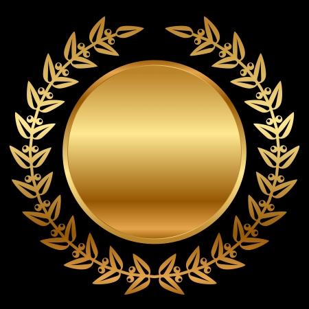 laurel leaf:  gold laurels on black