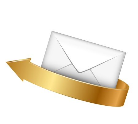 admirer:  illustration of envelope and gold arrow