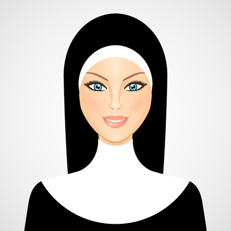 christian halloween:  illustration of nun
