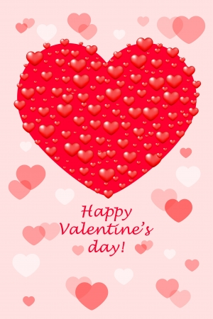 Happy Valentines Day -  card with hearts Vector