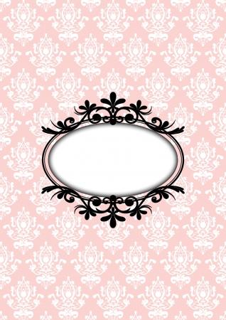 flores fucsia: ilustración de marco rosa vendimia Vectores