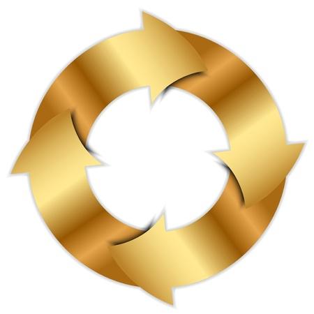 circular flow: Vector gold arrows circle