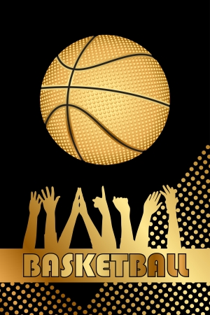 international basketball: Vector black and gold basketball background
