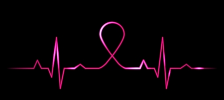 Vector illustration of cardiogram with breast cancer symbol