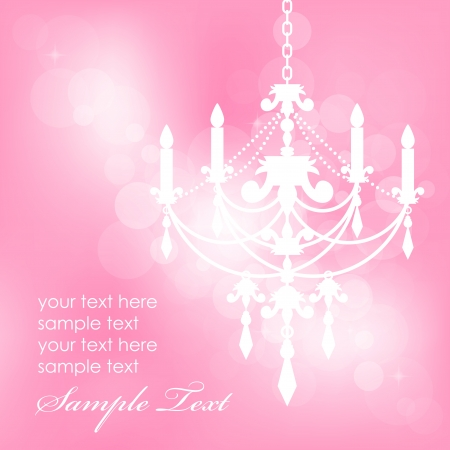 Vector pink background with chandelier Vector