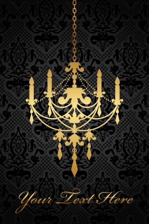 Vector black background with gold chandelier Stock Vector - 18168537