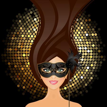 glisten: Векторная иллюстрация девушка с маской Иллюстрация