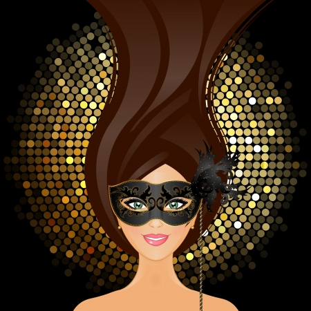 glitter ball: Vector illustration of girl with mask