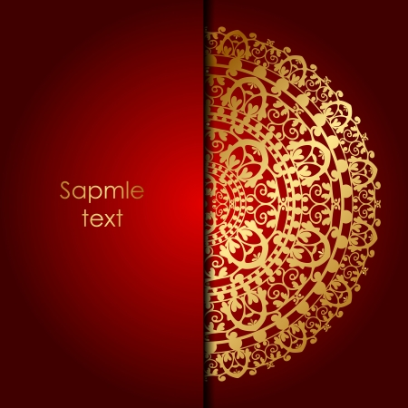 red rug: Vector red background with gold ornament