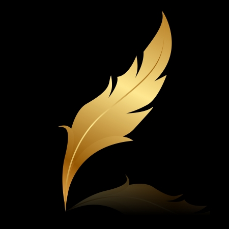 literary: Vector illustration of golden feather on black