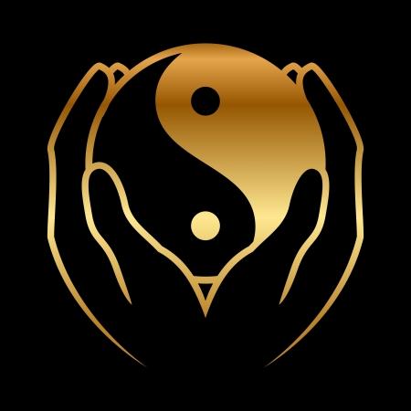 yin y yang: Ilustración del vector de las manos que sostienen yin yang símbolo