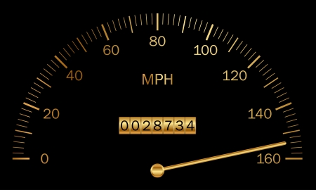 mile: Vector illustration of black and gold speedometer