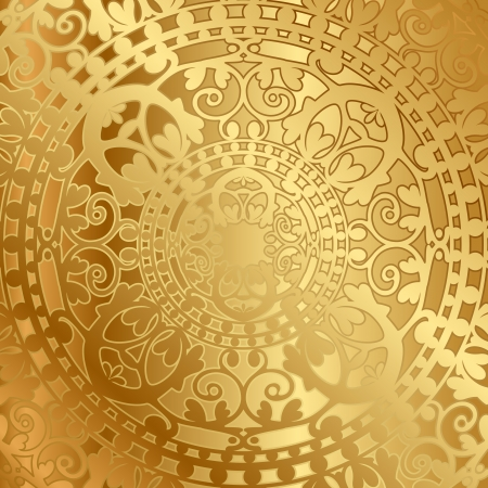 gold fabric: Vector gold background with oriental decoration Illustration