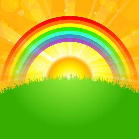 rainbow sky: illustration sunrise over field