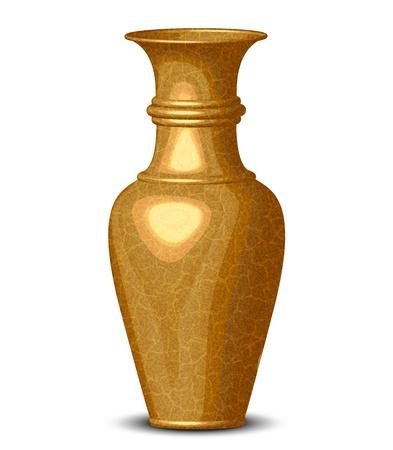 ewer: illustration of golden shiny vase Illustration