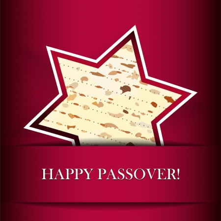 jews: Passover card with matza  Star of David shape