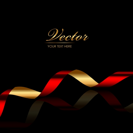 background with red   gold ribbon Stock Vector - 18225573
