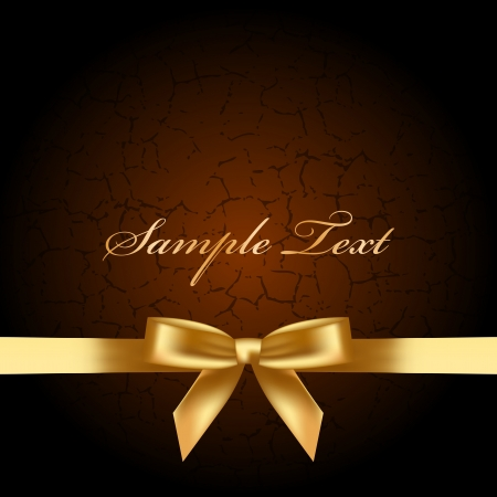 brown background with gold bow Vector