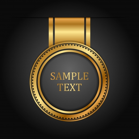 achievement clip art: gold label on black Illustration