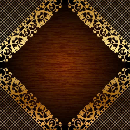 Vector illustration of gold lace on wooden background Vector