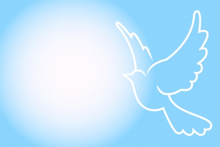 Vector blue frame with dove Vector