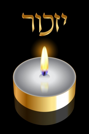 remembrance day:  Remembrance   Hebrew  - Vector backgroundv with gold candle