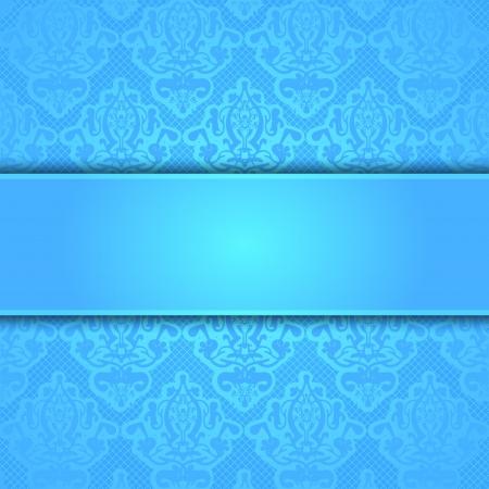 flores fucsia: Vector blue frame lace