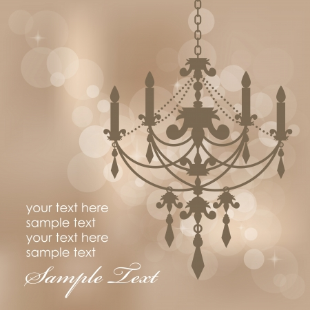 chandelier background: Vector brown background with chandelier
