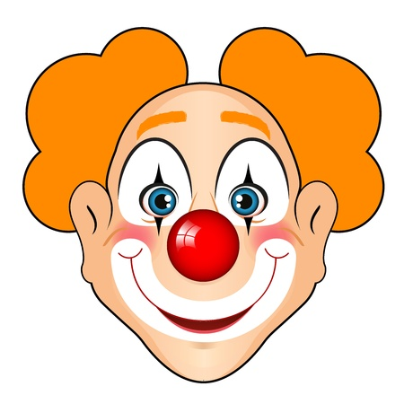 wig: Vector illustration of smiling clown