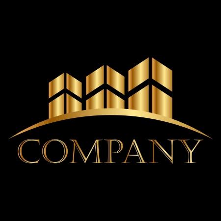 makelaardij: Vector gouden gebouwen pictogram witte ruimte voor uw tekst