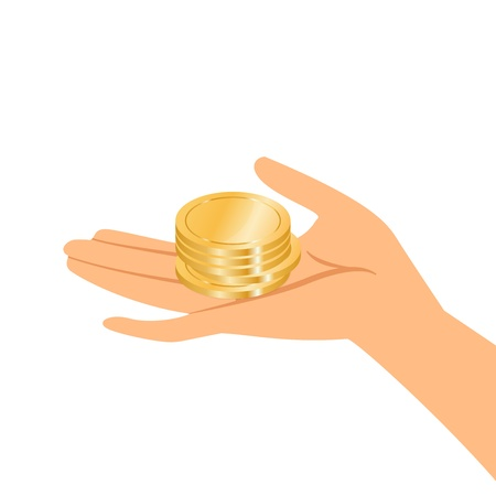 woman holding money: Vector illustration of hands holding gold coins
