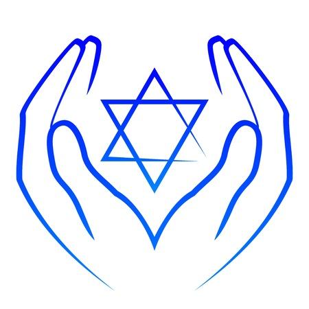 etoile juive: Vector ic�ne - �toile de David mains holdin