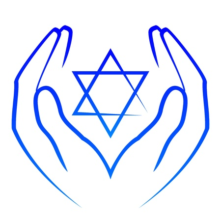 jewish ethnicity: Vector icon -  hands holdin star of David Illustration