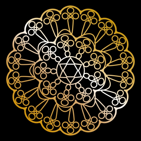 magen david: Vector gold napkin on black
