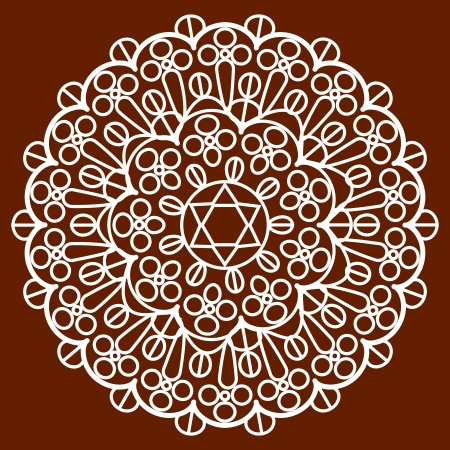 jewish star: Vector napkin on brown